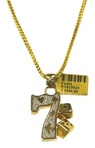 Other 10K Yellow Gold Franco Chain with Lucky 7 Gambling Diamond Pendant