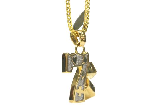 Other 10K Yellow Gold Franco Chain with Lucky 7 Gambling Diamond Pendant Image 1