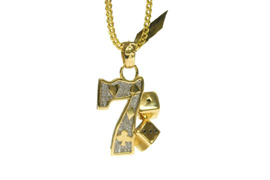Other 10K Yellow Gold Franco Chain with Lucky 7 Gambling Diamond Pendant Image 2