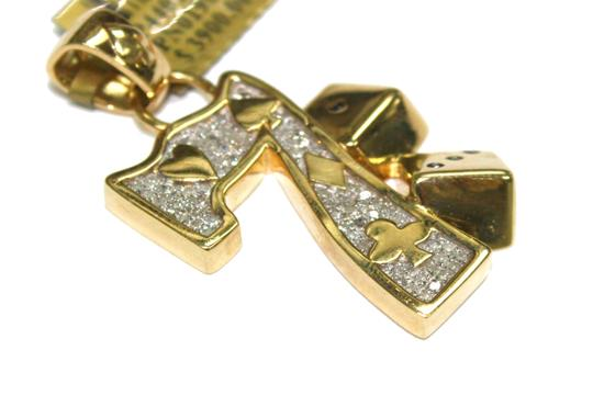 Other 10K Yellow Gold Franco Chain with Lucky 7 Gambling Diamond Pendant Image 3