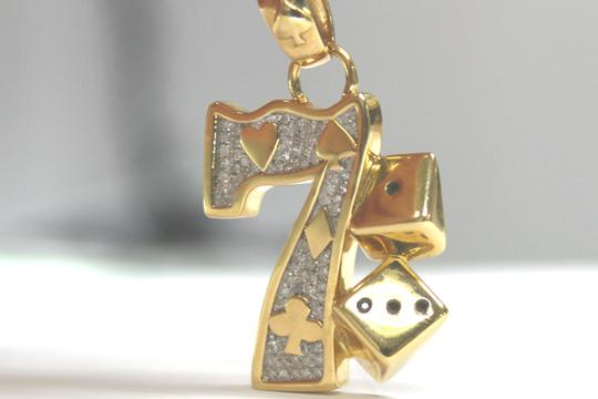 Other 10K Yellow Gold Franco Chain with Lucky 7 Gambling Diamond Pendant Image 5