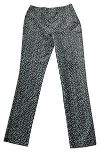 Parallel Floral Brocade Metallic Straight Pants black, silver
