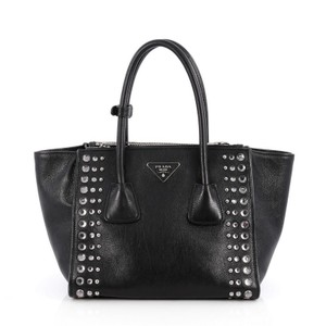 535b91f1747 Prada Twin Twin Pocket Pocket Studded Glace Calf Small Black Leather Tote  51% off retail