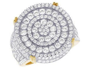 Jewelry Unlimited Mens Yellow Finish Simulated Diamond 3D Round Cluster Pinky Ring