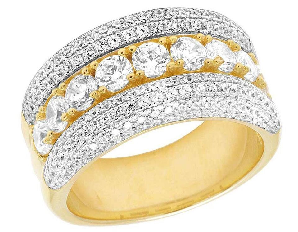 Jewelry Unlimited Men S Yellow Finish Simulated Lab Diamond Solitaire Wedding Band