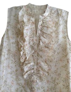 Ralph Lauren Silk Flower-print Ruffles Sleeveless Top cream