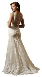 Watters Ivory Alencon Lace and Tulle Francine Vintage Wedding Dress Size 4 (S)