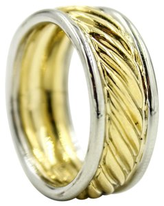David Yurman Cable Classics 9mm Wedding Band Ring in 18k Yellow and White Gold