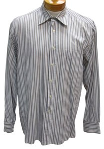 Dolce&Gabbana Versace Gucci Chanel Vintage D&g Button Down Shirt Light Blue Stripe Brown