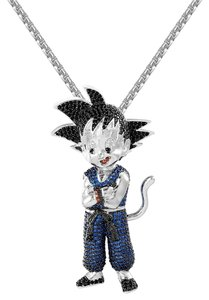 Master Of Bling Dragon Goku 14k White Gold Finish Blue Simulated Diamonds Free Chain