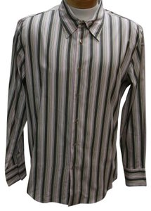 John Varvatos Givenchy Valentino Gucci Versace Monogram Button Down Shirt Pink/ Brown