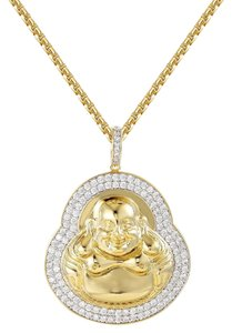 Master Of Bling Religious Buddha Pendant 14k Gold Finish Free Steel Box Chain 24""