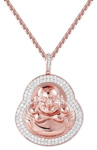 Master Of Bling Rose Gold Tone Iced Out Religious Buddha Pendant Simulated Diamonds