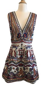 Alice + Olivia Embellished Beaded Fit And Flare Colorful Dress