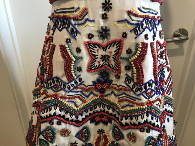 Alice + Olivia Embellished Beaded Fit And Flare Colorful Dress Image 1