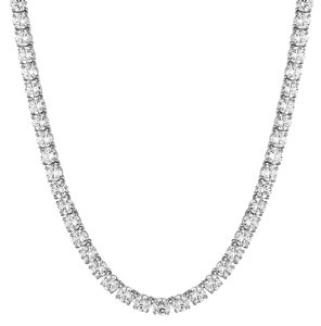 """Master Of Bling 8MM White Simulated Diamond Solitaire 1 Row Tennis Link Necklace 20"""""""