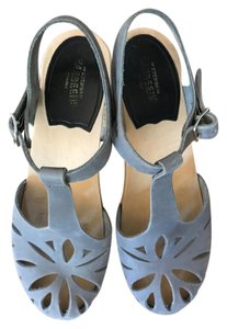 swedish hasbeens Vintage Inspired Wooden Heel Trendy grey Mules