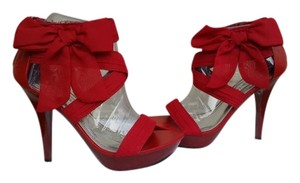 JustFab Party Stiletto Heels Ball Gown Wedding Red Platforms