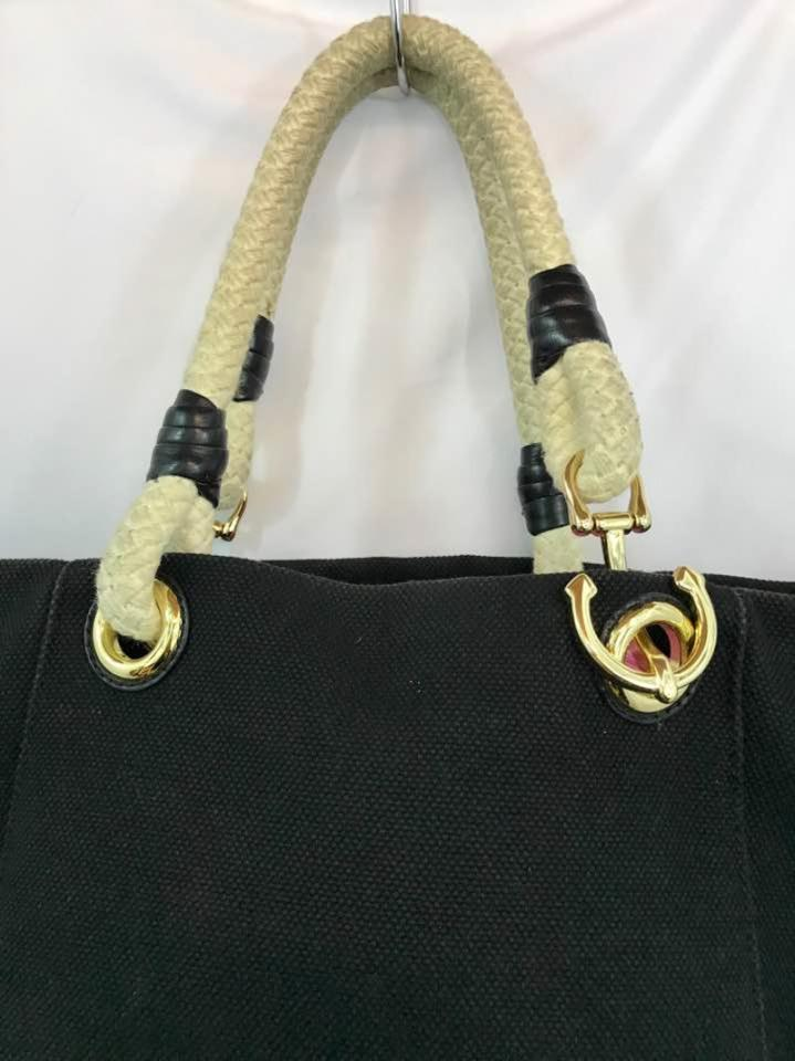 cb76ca732c89 Michael Kors By Rope Handles Woven Bag. Black Canvas Tote - Tradesy