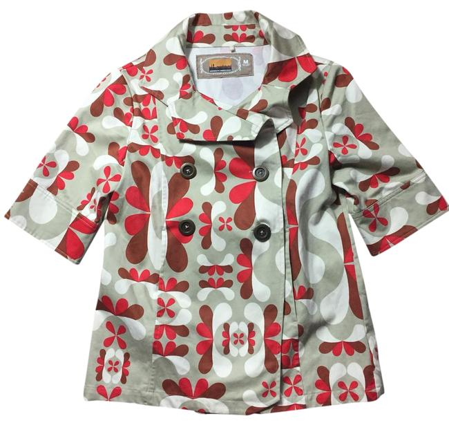 Item - Red Printed Short Sleeve Cotton Jacket Size 8 (M)