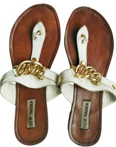 Steve Madden White, gold, and brown Sandals