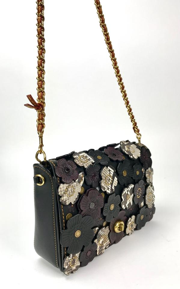 5c6be024d7 Coach 1941 Crossbody Exotic Tea Rose Applique Dinky 24 In Glovetanned  Black/Multi Leather Shoulder Bag 52% off retail