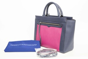 Rebecca Minkoff Leather Tote in Magenta/Navy