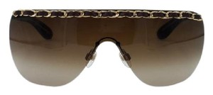 Chanel Chanel 4160-Q Brown and Gold Leather woven Chain Sunglasses