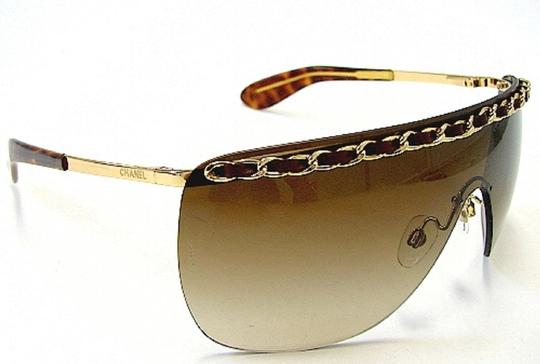 Chanel Chanel 4160-Q Brown and Gold Leather woven Chain Sunglasses Image 1