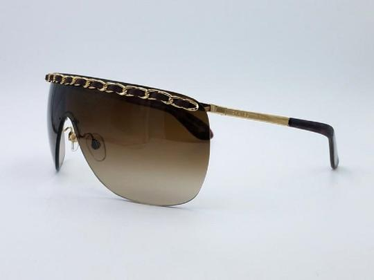 Chanel Chanel 4160-Q Brown and Gold Leather woven Chain Sunglasses Image 3