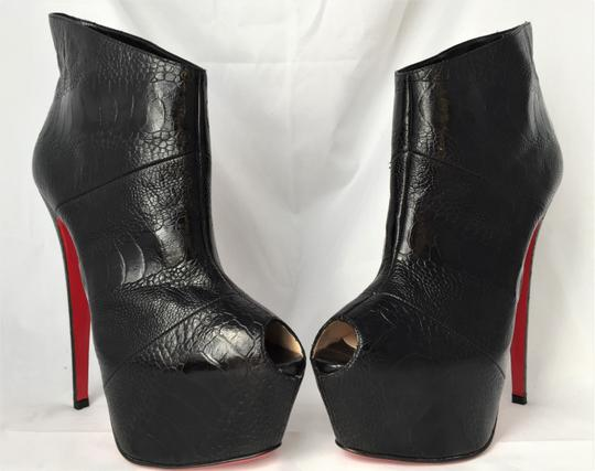 Christian Louboutin High Heels Daffodile Ankle Platform Black Boots Image 6