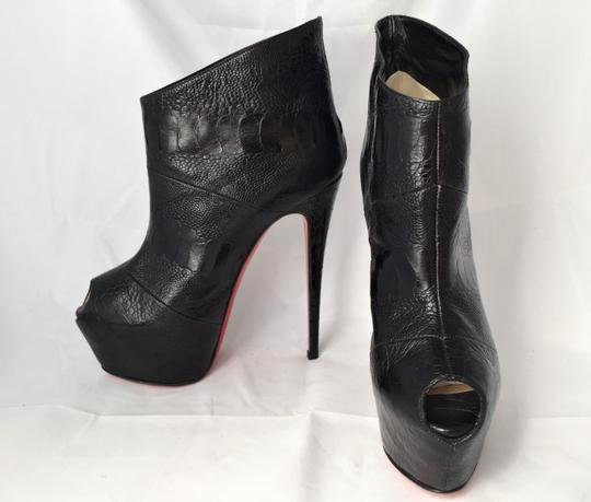 Christian Louboutin High Heels Daffodile Ankle Platform Black Boots Image 7