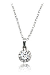Ocean Fashion Shining cabinet micro crystal silver necklace
