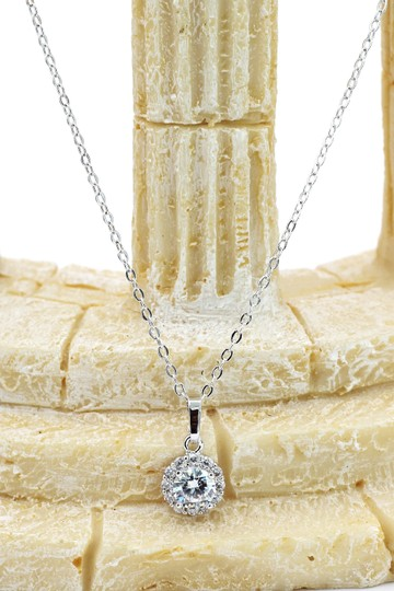 Ocean Fashion Shining cabinet micro crystal silver necklace Image 2