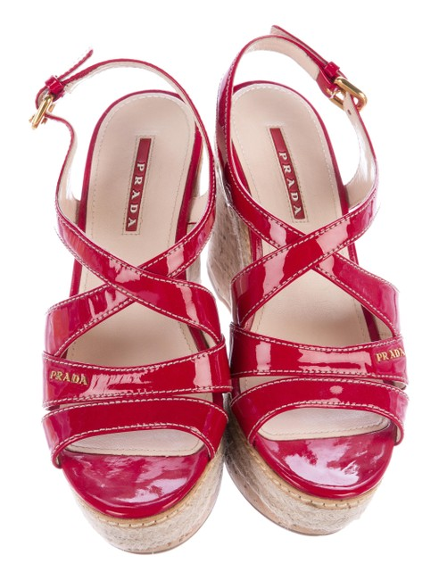 Item - Red Sport Patent Leather Wedges Size US 6 Regular (M, B)