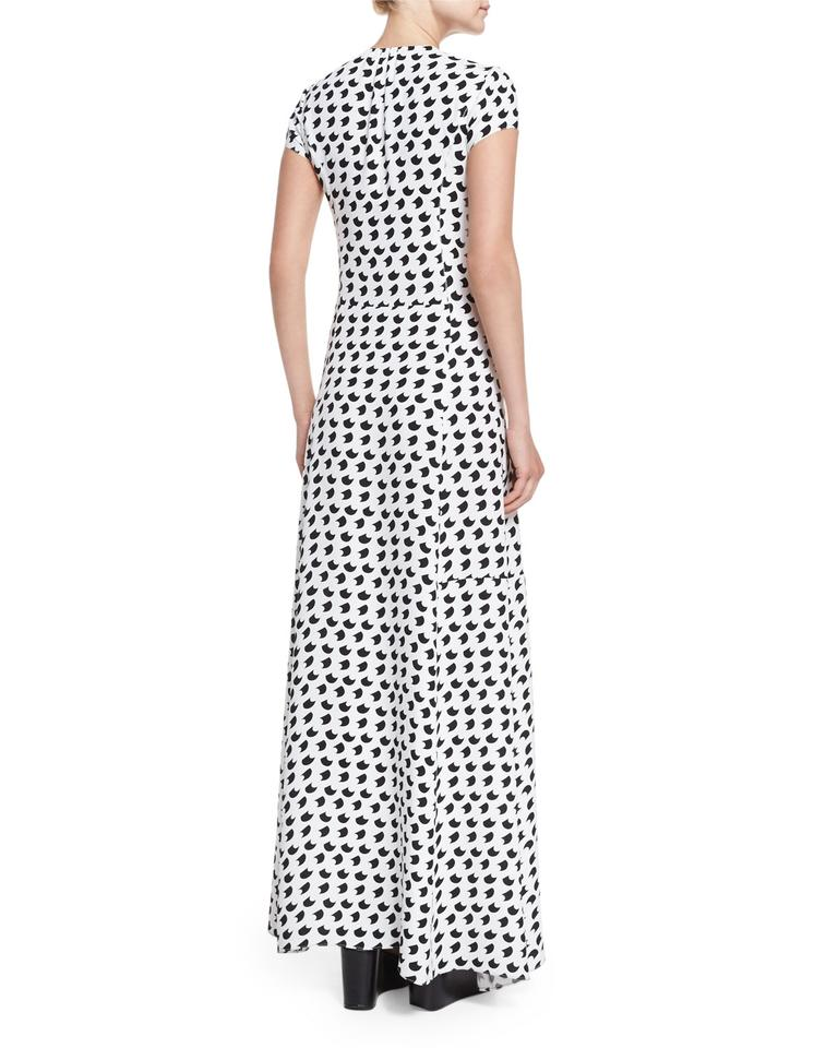 Crescent Lam Gown Dress Casual Print sleeve Maxi Derek Short White BRpAHIq