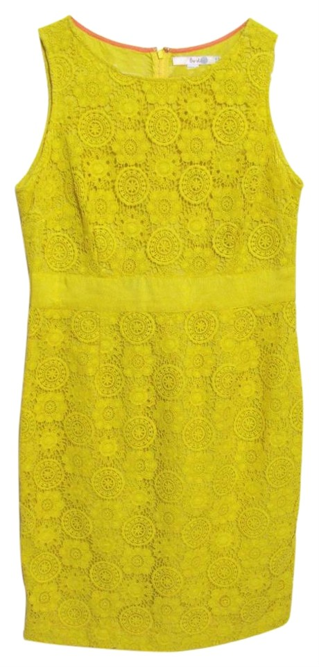 Boden yellow lace embroidery sheath short casual dress for Boden yellow bag