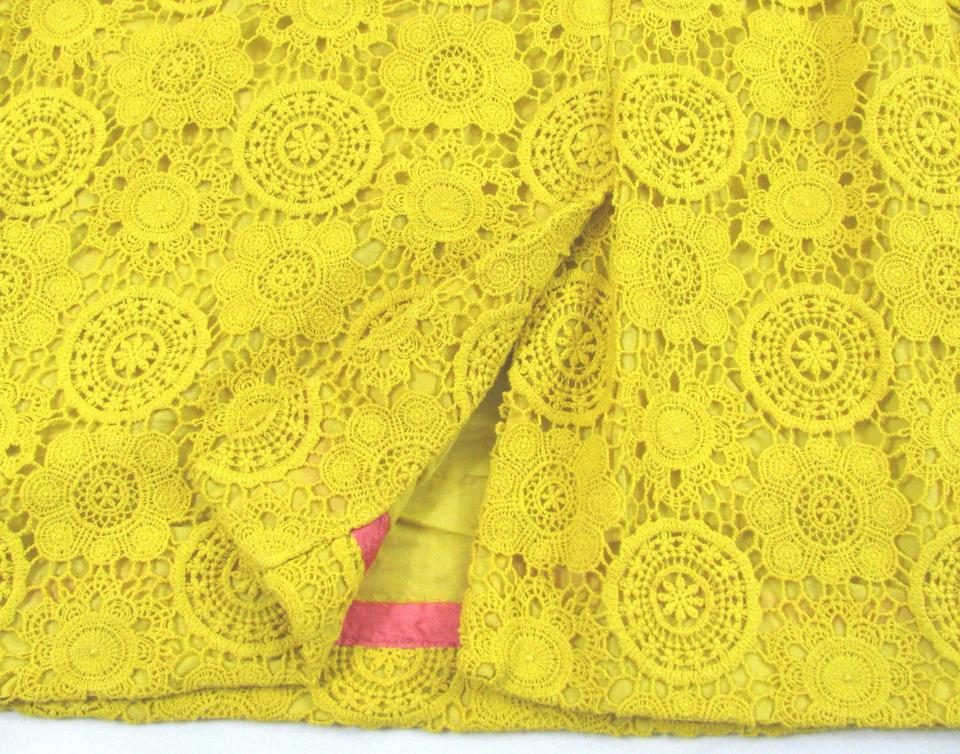 Boden yellow lace embroidery sheath short casual dress for Boden yellow