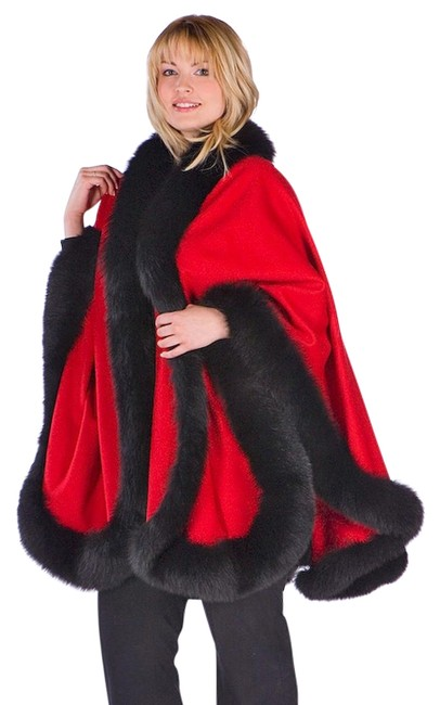 Preload https://img-static.tradesy.com/item/22096047/red-cashmere-cape-black-fox-trimmed-ponchocape-size-16-xl-plus-0x-0-2-650-650.jpg