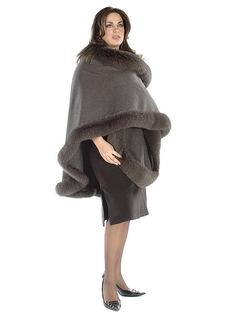 madisonavemall Cashmere Womens Plus Size Real Fur Real Fabric Cape Image 1