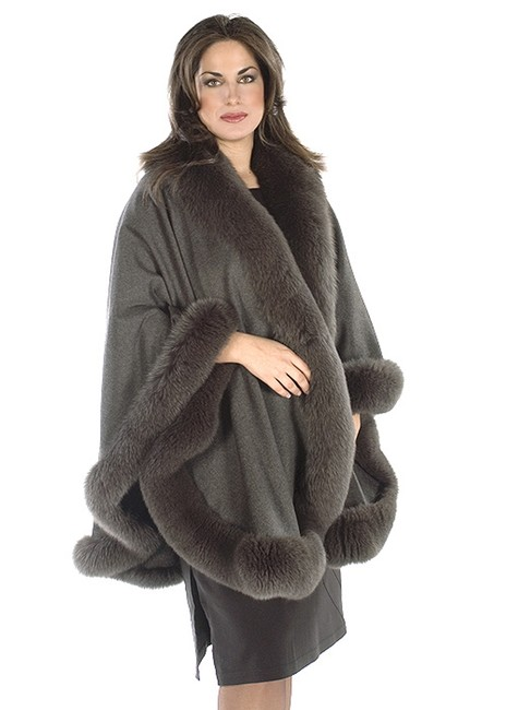madisonavemall Cashmere Womens Plus Size Real Fur Real Fabric Cape Image 2