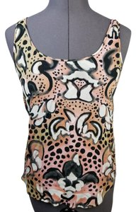 French Connection Sheer Sleeveless Floral Animal Print Top Pink, Black