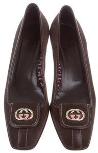 Gucci Square Toe Gold Hardware Gg Embellished Brown, Gold Pumps