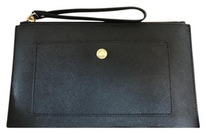 Michael Kors Mk Greenwich Large Leather Black Clutch