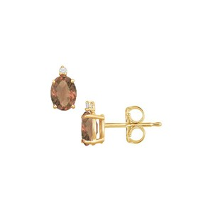 Marco B June Birthstone Oval Smoky Quartz and CZ Stud Earrings