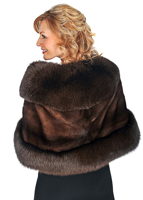 madisonavemall Real Fur Real Fox Real Mink Mink For Womens Fox Trim Cape Image 1