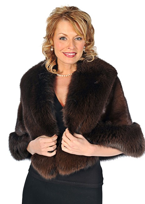 madisonavemall Real Fur Real Fox Real Mink Mink For Womens Fox Trim Cape Image 2