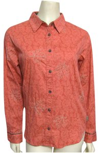 Columbia Sportswear Company Floral Long Sleeve Buttoned New Shirt Coral Cotton Peach S Maple Leaf Print 6 Button Down Shirt pink