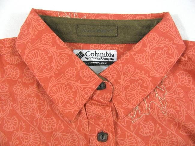 Columbia Sportswear Company Floral Long Sleeve Buttoned New Shirt Coral Cotton Peach S Maple Leaf Print 6 Button Down Shirt pink Image 1