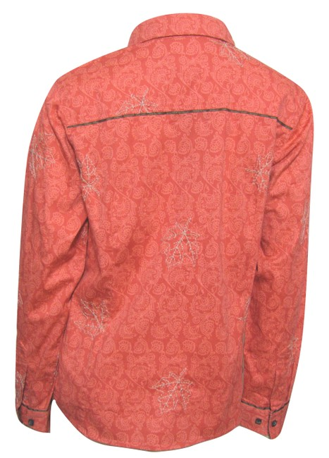 Columbia Sportswear Company Floral Long Sleeve Buttoned New Shirt Coral Cotton Peach S Maple Leaf Print 6 Button Down Shirt pink Image 2